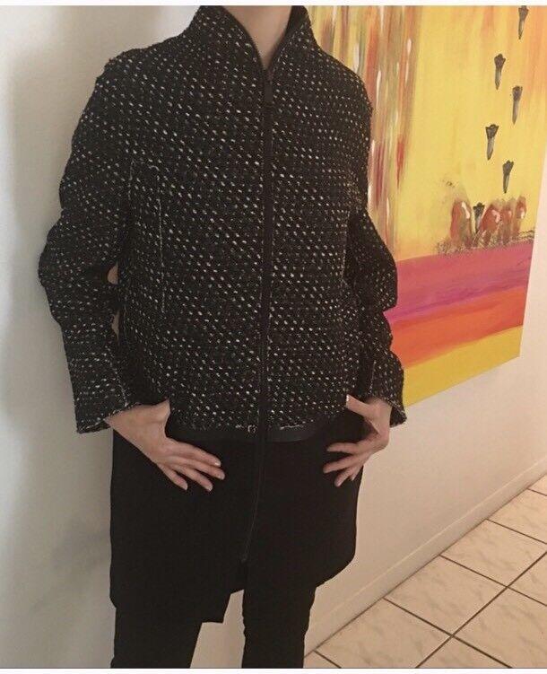 Elie Tahari Stylish Zipped Wool Blend Coat Sz XS Ret