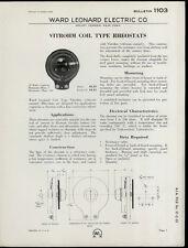 Rare Original 1932 Ward Leonard Dealer Sheet Page: Vitrohm Coil Type Rheostats