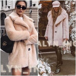 4fd408b3 Details about NWT ZARA AW18 PINK NUDE FAUX FUR COAT WITH LAPEL COLLAR_XS S  M L XL