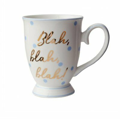 BLAH BLAH BLAH FUNNY BLUE GOLD SPOTTY MUG CUP GIFT PRESENT BOXED FOR HER FRIEND
