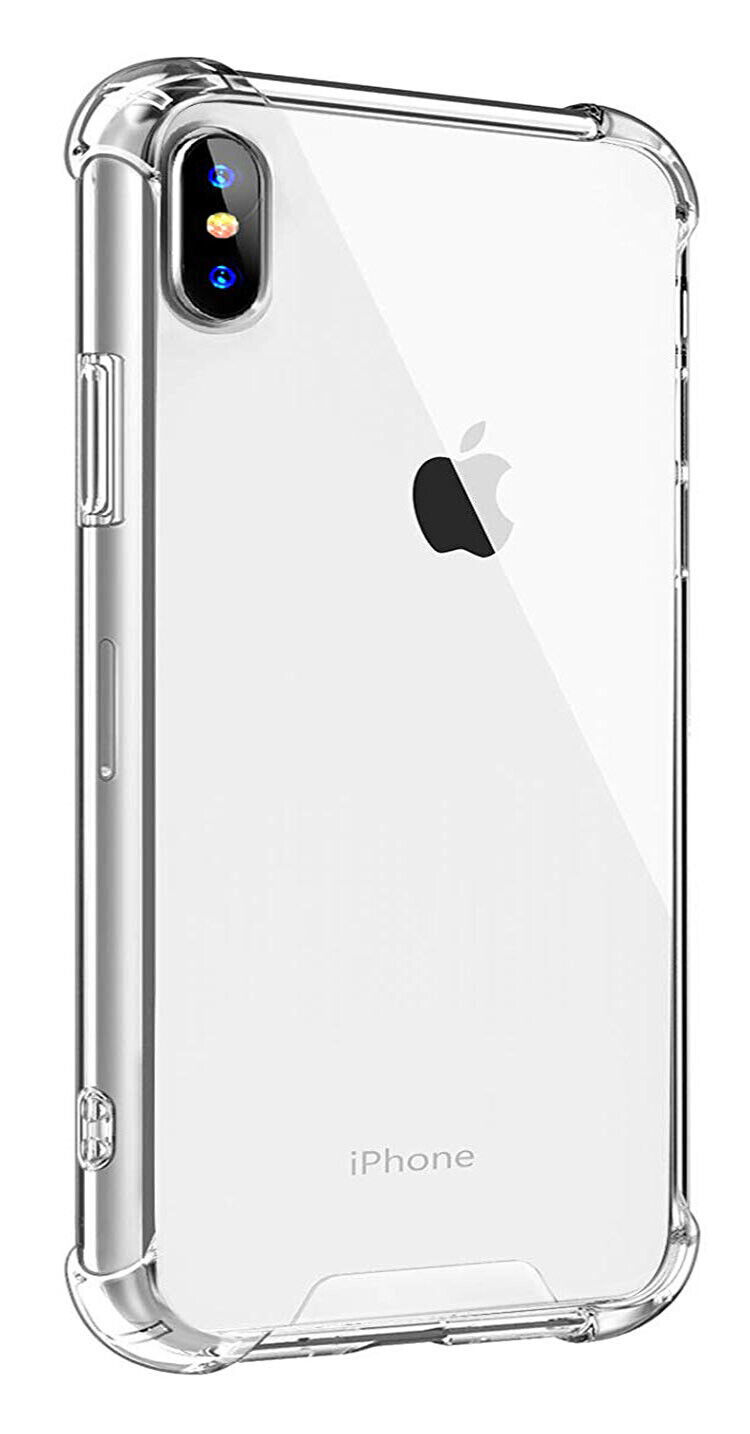 Promo Silicone shell 4-corner reinforced plus tempered glass iPhone Apple XS Max XS X X transparent case iPhone shock protection