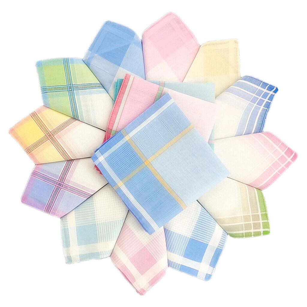 12pack 100% Cotton Handkerchiefs Pocket Hanky Party Hankie Towel 30x30cm