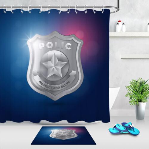 """72//79/"""" Tissu Imperméable logo police Rideau de douche Crochets Salle De Bain Tapis"""
