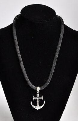 Halskette Anker Anhänger Ankerhalskette Lederhalskette Herrenkette Damenkette V8