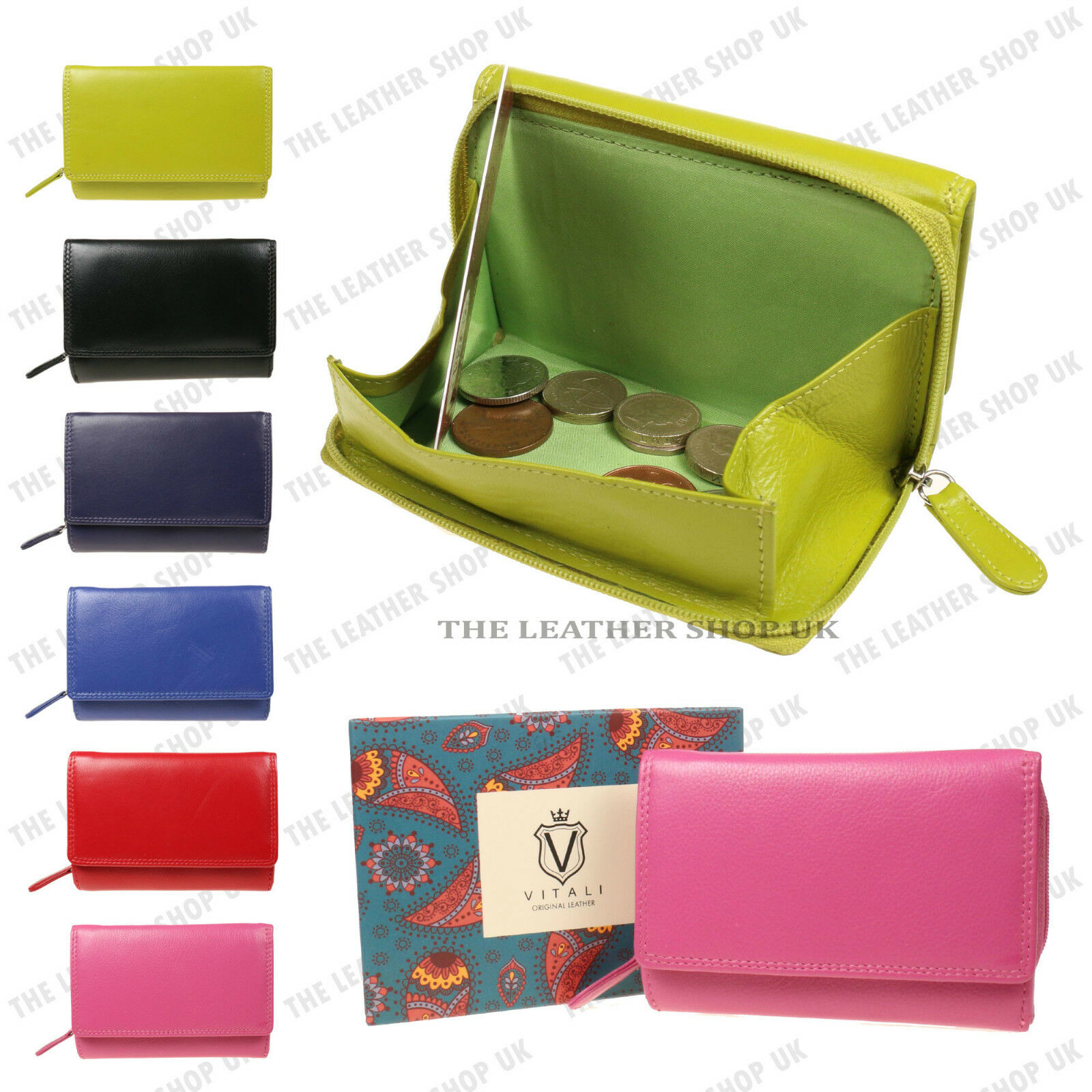 LADIES LEATHER COIN PURSES VITALI BRAND NEW CREDIT CARD HOLDER