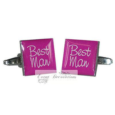 Rosa Shocking Quadrato Matrimonio Gemelli Groom, Best Man Usher Etc-grande Valore!-mostra Il Titolo Originale Fabbricazione Abile