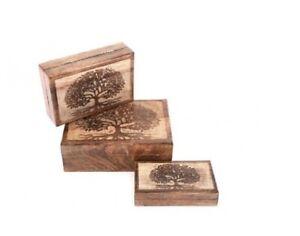 Set of 3 Rectangular Tree of Life Wooden Storage Boxes