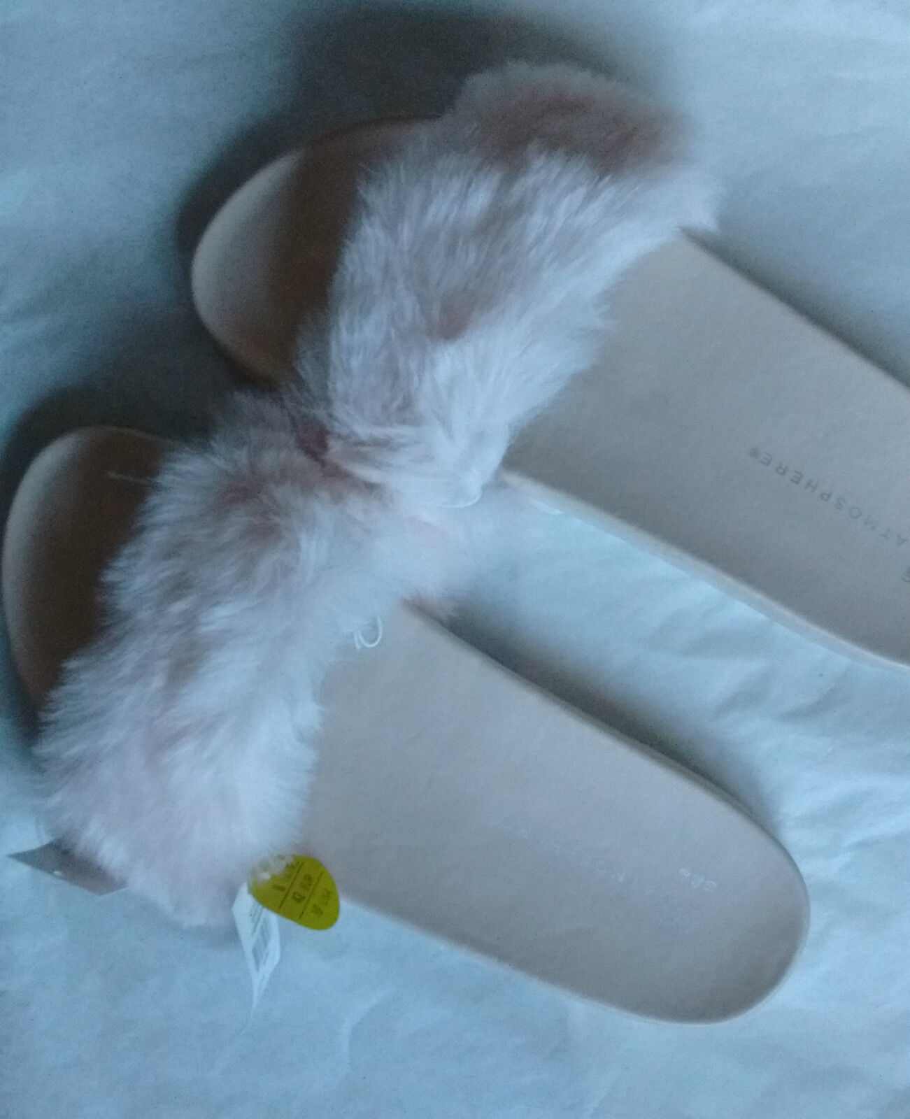 PRIMARK ATMOSPHERE NUDE FAUX FUR Out! POOL BEACH SLIDERS-Size Sold Out! FUR c73da0