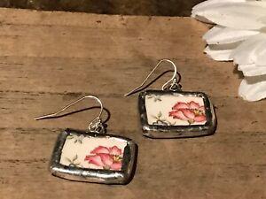 Recycled-Broken-Porcelain-Jewelry-Vintage-Pink-Floral-Earrings