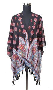 Women-039-s-Paisley-Pattern-Kimono-Cardigan-Cover-Up-With-Beaded-Tassels-SKM3125