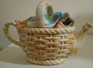 Rare-Tony-Carter-Large-Teapot-Picnic-Hamper-Basket-Carters-of-Suffolk-Ceramic