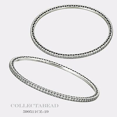 "Authentic Pandora Silver Twinkling Forever Clear Bangle Bracelet 7.5"" 590511CZ"