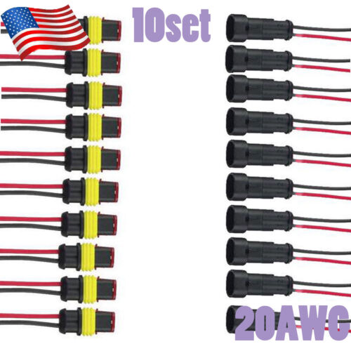 10pcs set 2 Pin Car Waterproof Electrical Connector Plug Wire 20 AWG Marine Car