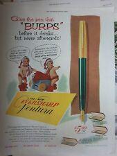 1953 Vintage Eversharp Ventura Fountain Ink Pen Burps before Drinks Ad