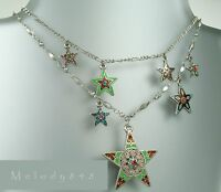 Pilgrim Necklace Star Charm Vintage Silver Multi-colours Enamel & Swarovski