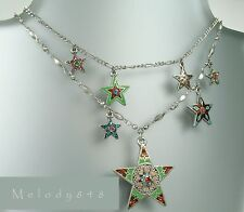 PILGRIM Necklace STAR Charm Vintage Silver Multi-Colours Enamel & Swarovski BNWT