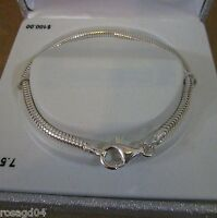 "7.5"" Genuine Sterling Silver Bracelet Individuality Beads Made Italy In Box"