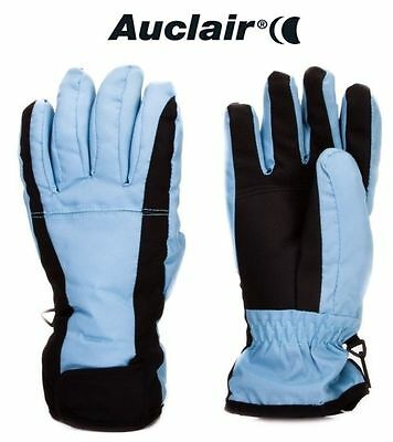 NEW Auclair Multi Womens Large Baby Blue Fleece Lined Ski Winter Gloves Msrp$40