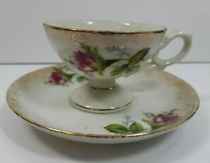 Demitasse-Footed-Cup-and-Saucer-Made-In-Japan-Collectible-Vintage-Mini