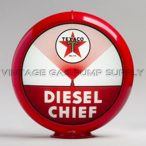 "Texaco Diesel Chief 13.5"" Gas Pump Globe w/ Red Plastic Body (G193)"