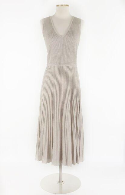 Massimo Dutti Pleated Midi Knit Dress Sz M Womens Beige Italian Yarn Medium