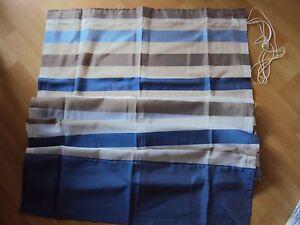 Raffrollo-Faltrollo-Klettband-transparent-blau-weiss-braun-Streifen-B-H-80-x-170