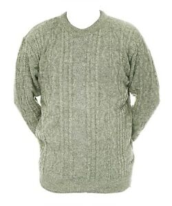 Mens-M-L-XL-New-Crew-Neck-Green-Beige-Mix-Jumper-Acrylic-Wool-Pullover-Sweater
