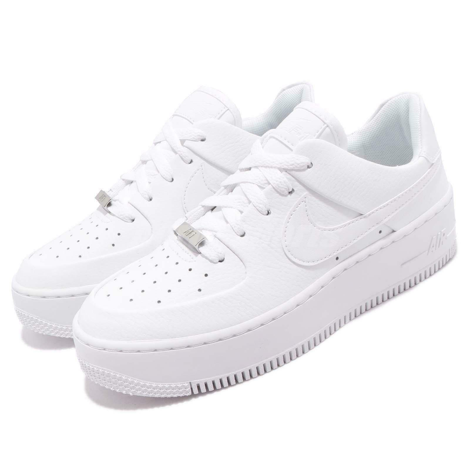 Nike Wmns AF1 Sage Low Triple White Air Force 1 Platform Womens Shoes AR5339 100