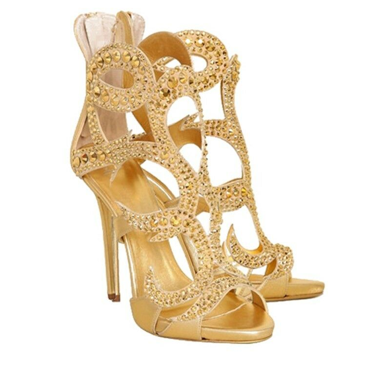 femmes Peep Toe Stilettos High heels Rhinestone Glitter chaussures Party Stage chaussures