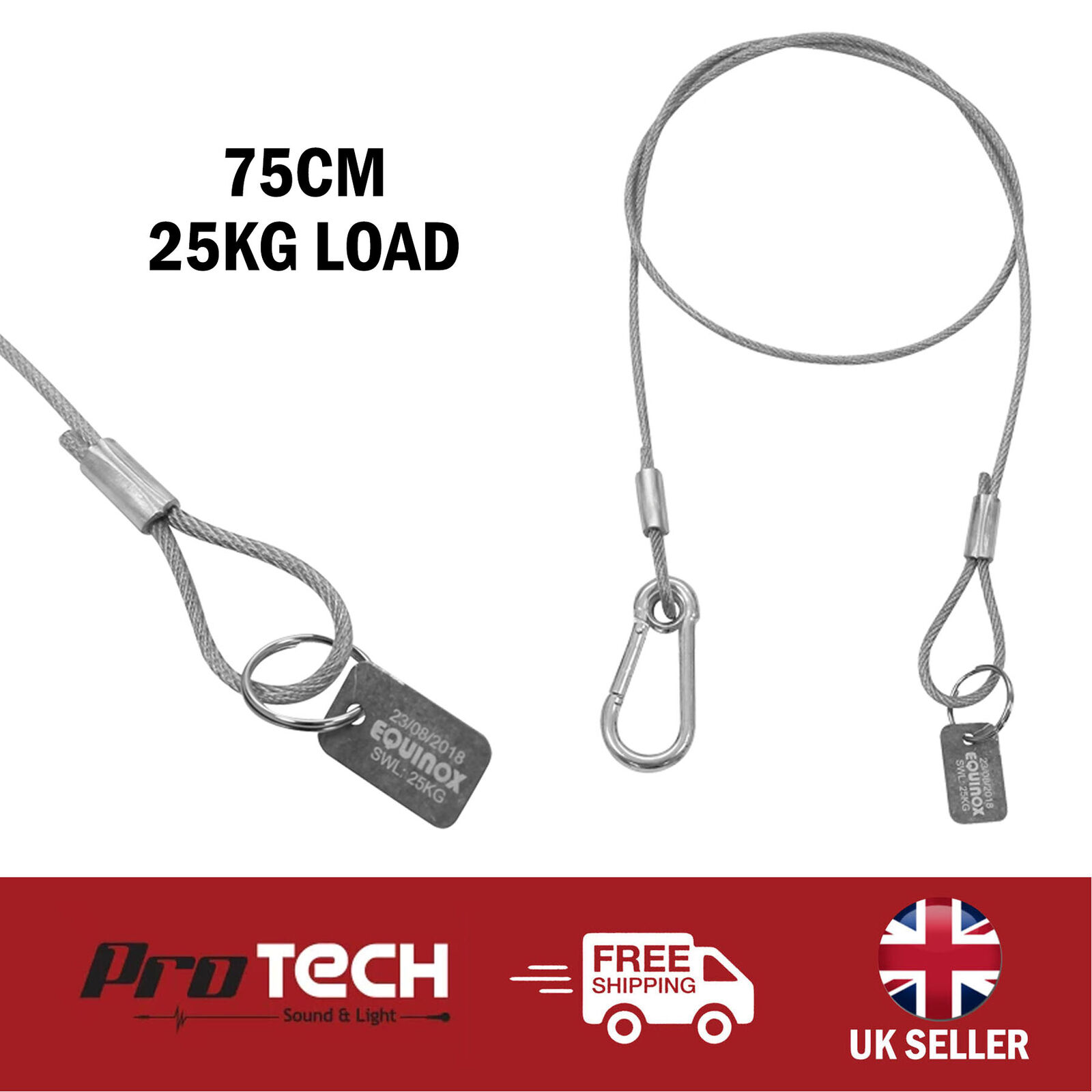 Equinox 75cm PVC Coated Safety Wire Carabiner Bond Cable Stage Lighting 25KG