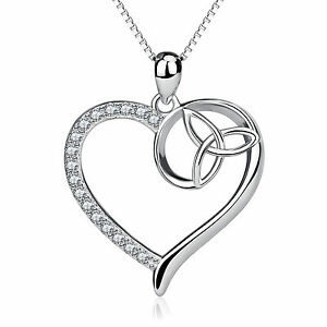 925 sterling silver crystal trinity knot heart necklace celtic image is loading 925 sterling silver crystal trinity knot heart necklace mozeypictures