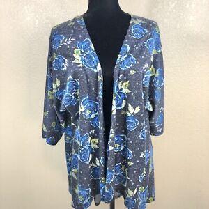 Lularoe-Donna-Lindsay-Floreale-Kimono-Cardigan-Nero-Blu-Taglia-Small-SZ-0-8