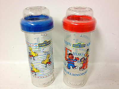 Vintage 1987 and 1988 Playtex Cherubs Drop Ins Baby Bottles Sesame Street