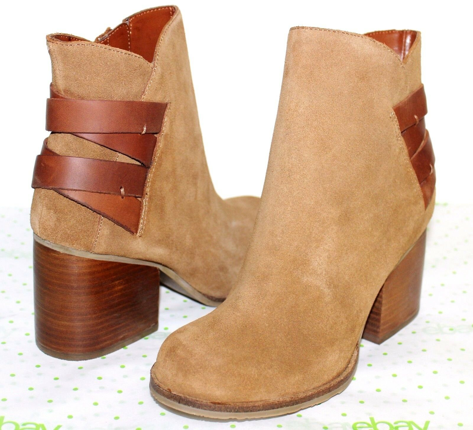 MIA HERITAGE Tan Suede Oiled Leather Straps 2.75 Heel Zip Boots 8.5 NEW  L@@K