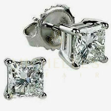 Simulated Diamond Screw Back Stud Solitaire Earrings 14k White Gold