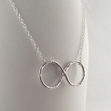 Handmade Sterling Silver Hammer Finish Infinity Pendant Necklace Perfect Gift