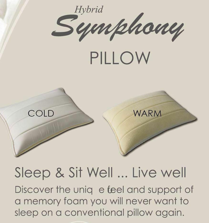 Hybrid Symphony Shrotded Memory Foam Pillow Single Single Single Or Set of 2 Cold and Warm 2f10fb