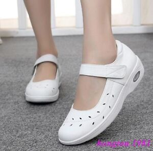 Hot Sale Women's Hospital Nurse Work Wedge Shoes Breathable White Strapy Fashion