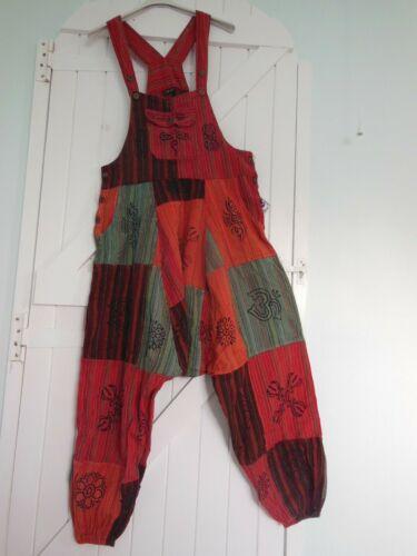 Baggy Harem Salopette Tuta Cotone Patchwork Stampa S//M BNWT etnico hippy Arty