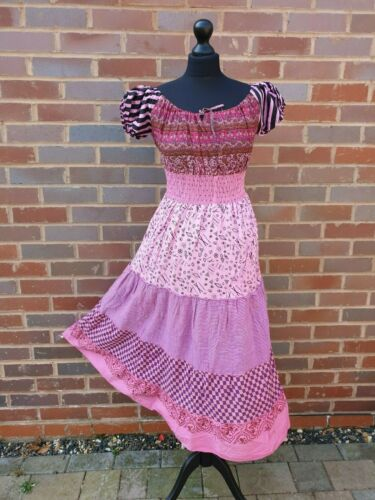 Cotton Maxi Dress Bardot Colorful Patchwork Casual Pink One Size 8 10 12 14 16