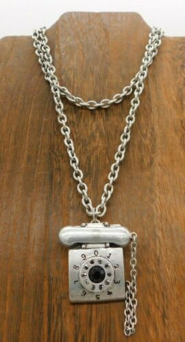 Large Silver Tone Telephone Receiver Cord Pendant