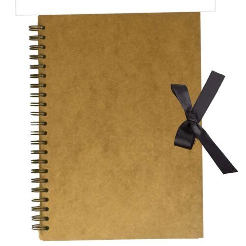 A3 Brown Kraft Ribbon Tie Scrapbook Spiral Bound Photo Album Memories 60 page uk