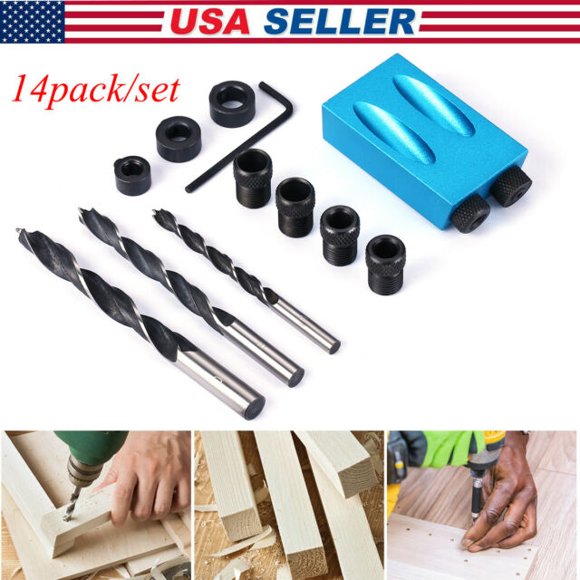 Pocket Hole Jig Kit Woodworking Set Tool Drill Guide Oblique 15° Angle Locator