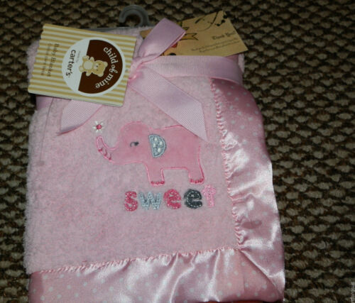 CARTERS BLANKET ELEPHANT SWEET SOFT SHERPA PINK POLKA DOT HEM VELOUR BACK COM