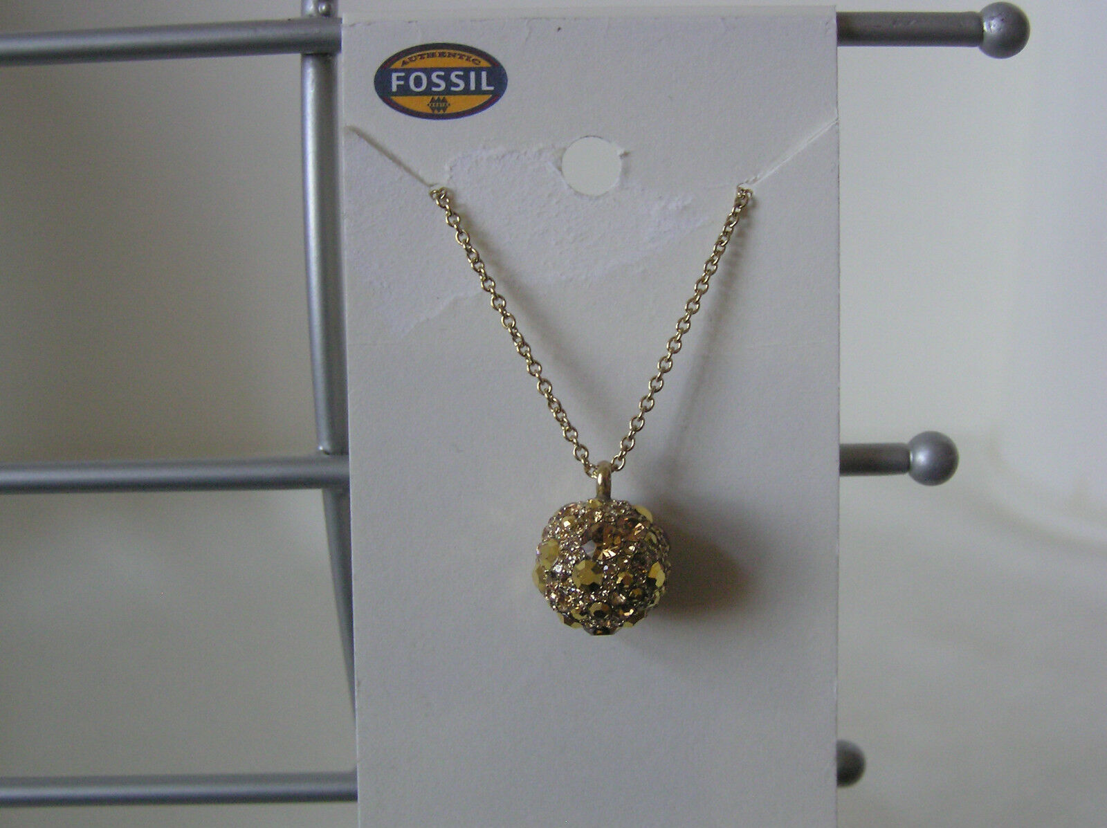 Fossil Brand gold Tone Stainless Steel Starry Night Pave Pendant