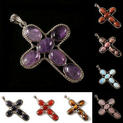 Amethyst quartz rhodonite goldstone tigereye cross fashion charm pendant 60mm