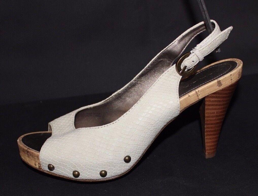 TAHARI Lumina women's shoes heels pump silverform beige open toe size 8M