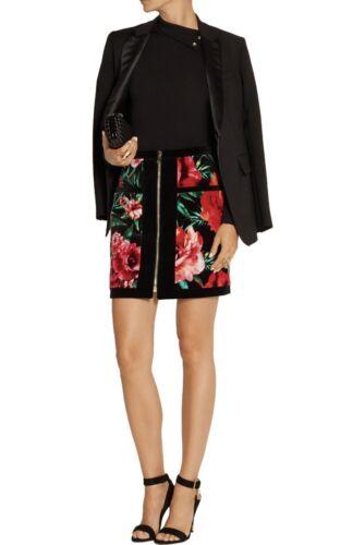 Balmain Velvet Floral Print Mini Skirt Size FR 38/