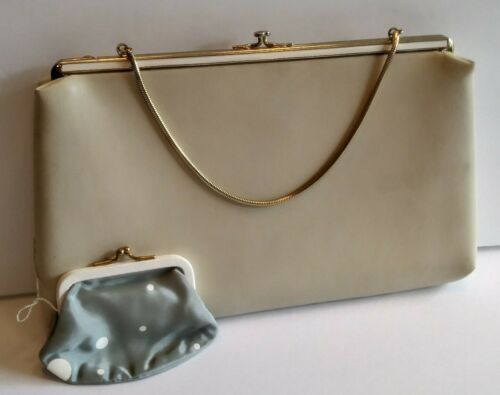 Geldbrse Creme Mᄄᄍnze Leder Vintage Gold Elfenbein Harry Levine Clutch Akzent zxgw1nqZI
