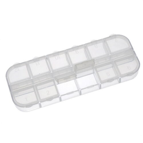 Wholesale W09 Beads Display Storage Container Clear 12 Compartments 13x5x1.5cm
